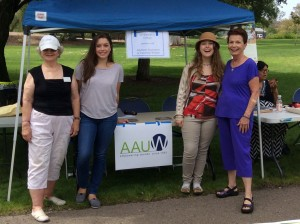 Winners of AAUW'S La Mesa - El Cajon Branch Local Scholarships assist at AAUW Table.